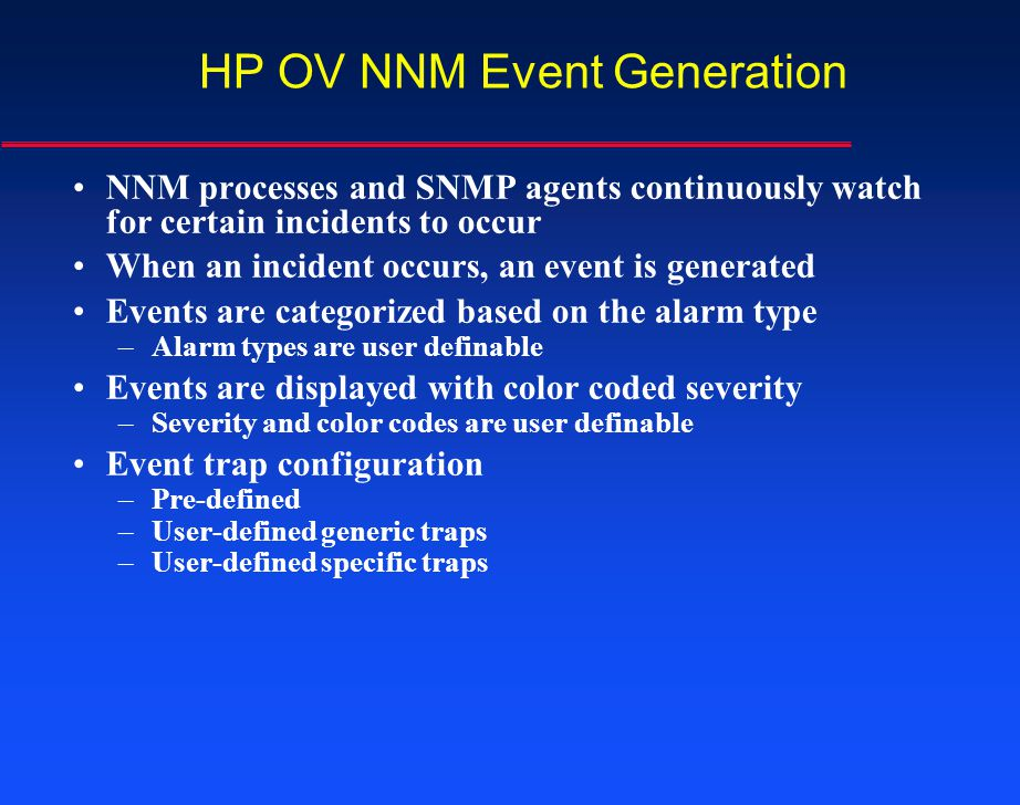 HP OV NNM Event Generation