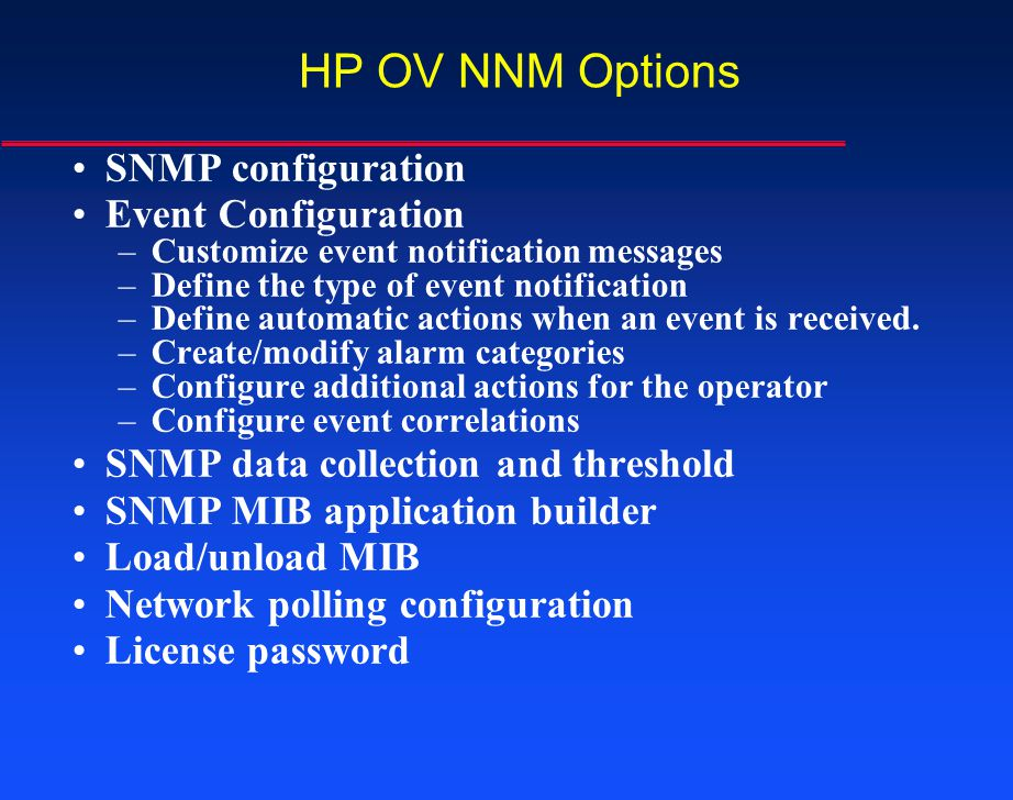 HP OV NNM Options SNMP configuration Event Configuration