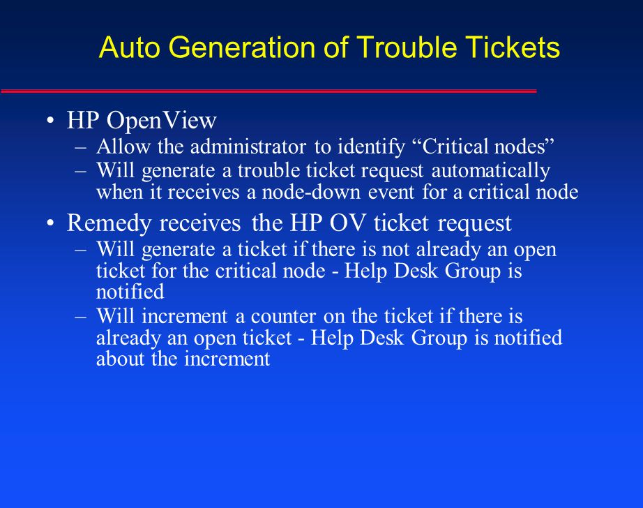 Auto Generation of Trouble Tickets