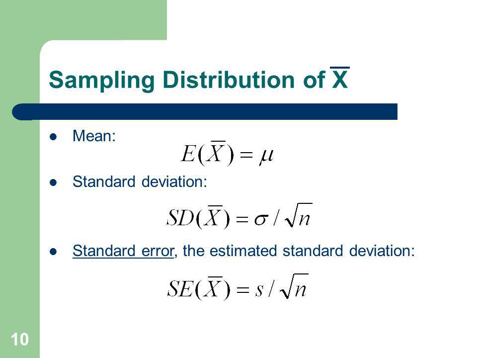 Sampling Distribution of X