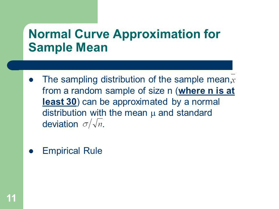 Normal Curve Approximation for Sample Mean