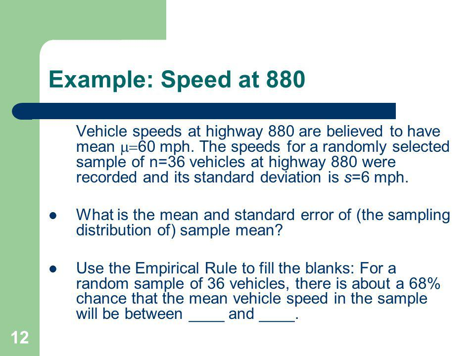 Example: Speed at 880