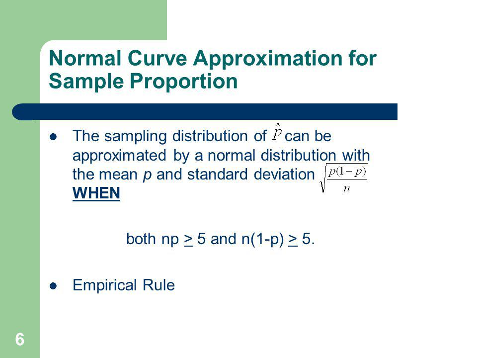 Normal Curve Approximation for Sample Proportion