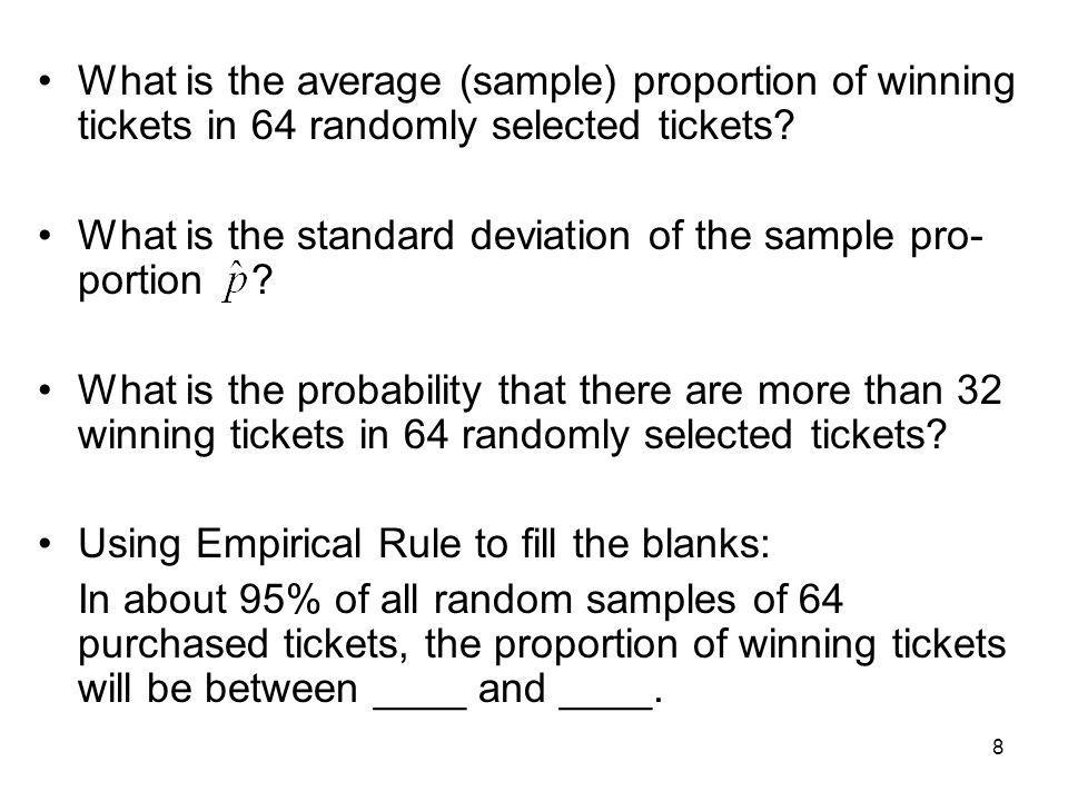 What is the average (sample) proportion of winning tickets in 64 randomly selected tickets