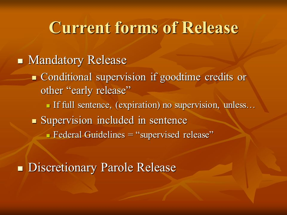 Current forms of Release