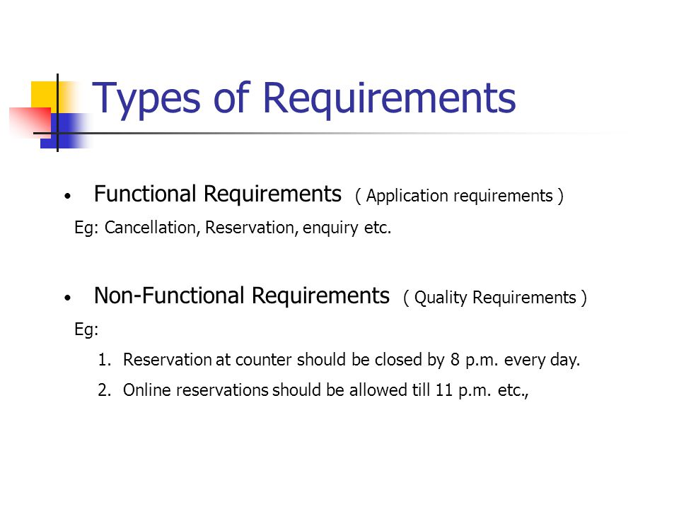 Types of Requirements Functional Requirements ( Application requirements ) Eg: Cancellation, Reservation, enquiry etc.