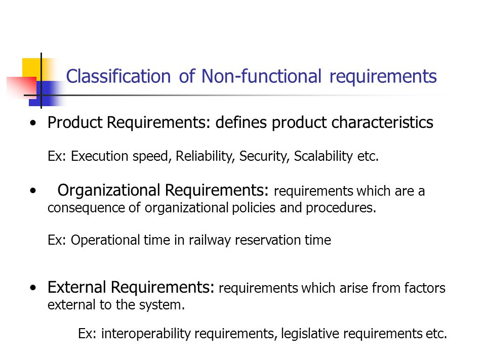 Classification of Non-functional requirements