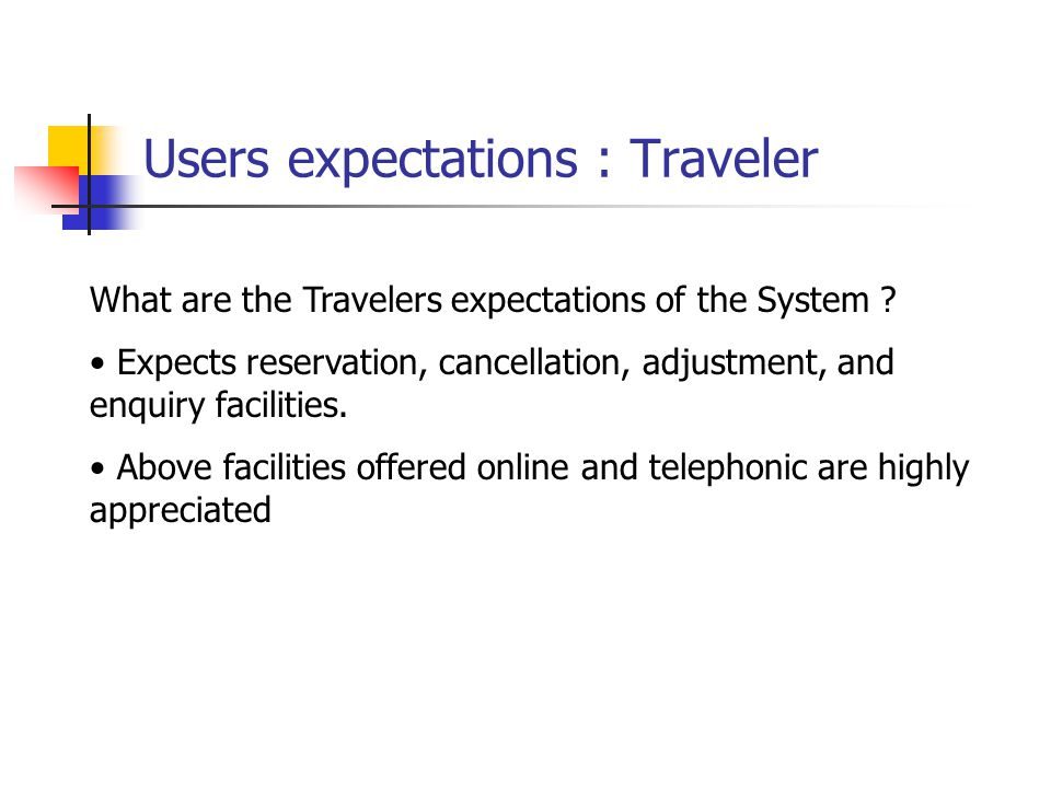 Users expectations : Traveler