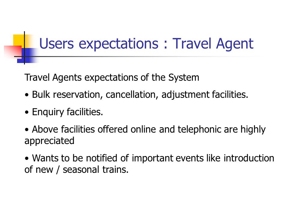Users expectations : Travel Agent