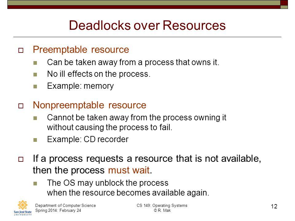 Deadlocks over Resources