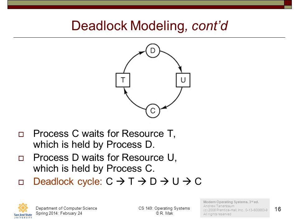 Deadlock Modeling, cont'd