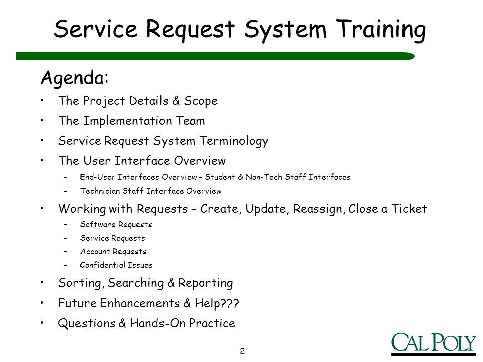 Service Request System Training