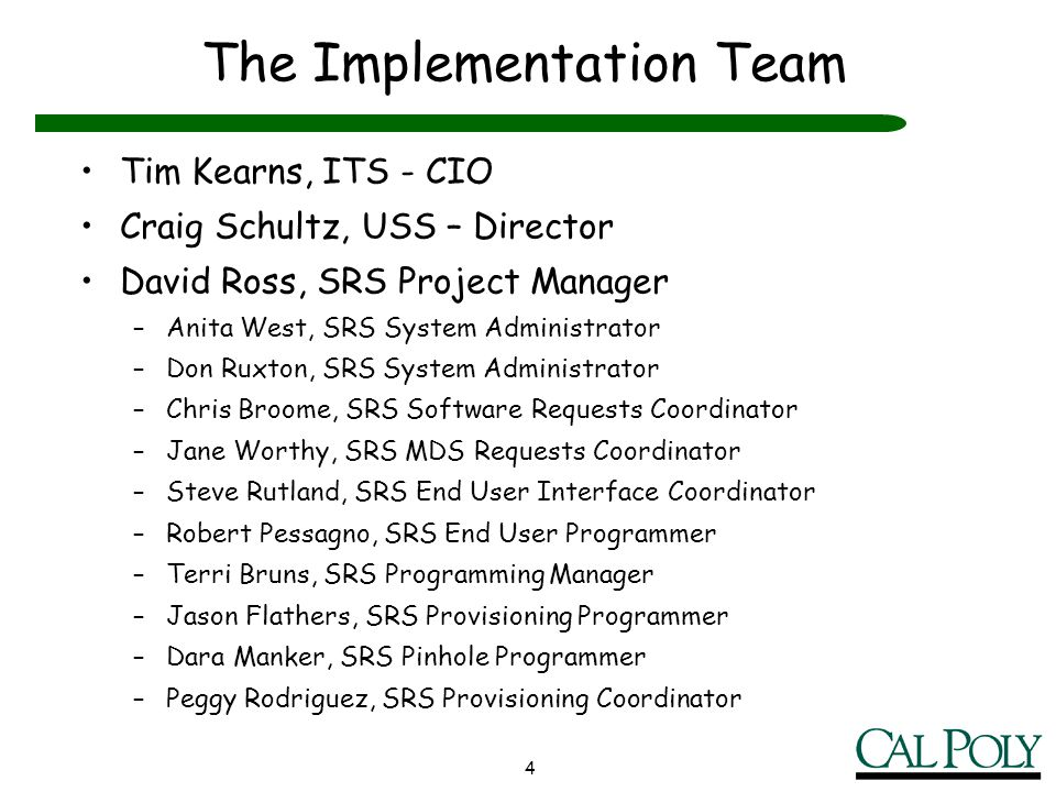 The Implementation Team