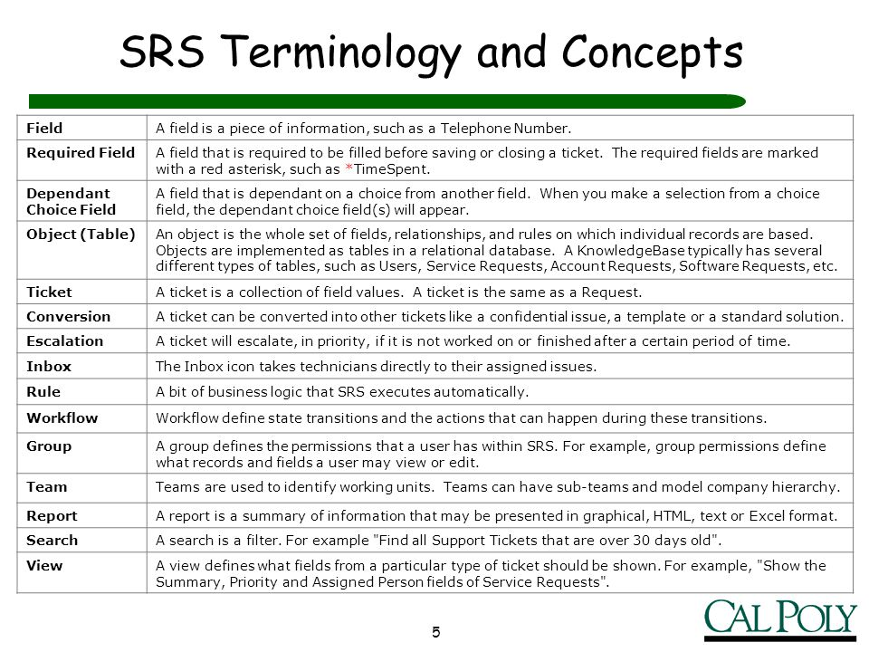 SRS Terminology and Concepts