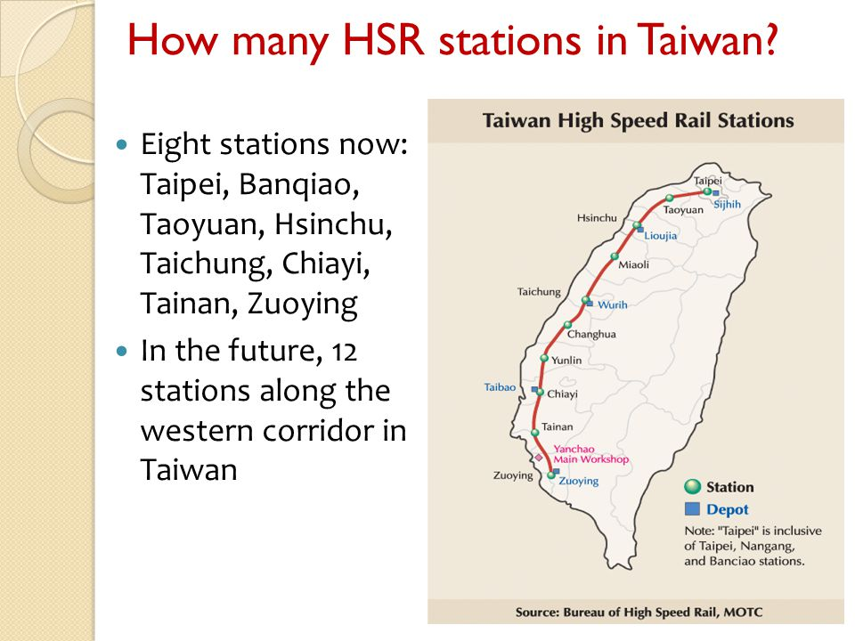 How many HSR stations in Taiwan