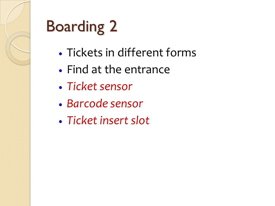 Boarding 2 Tickets in different forms Find at the entrance