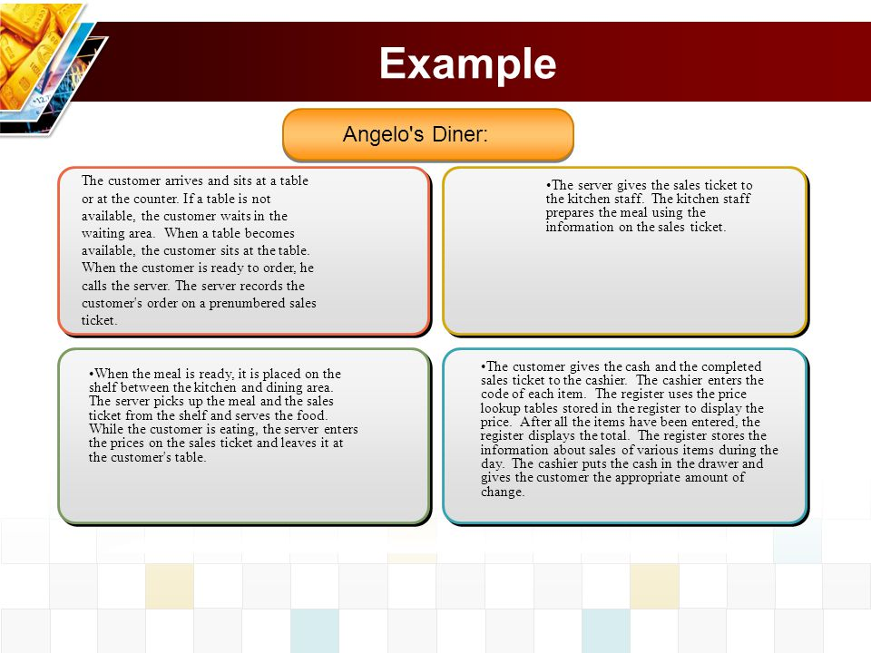 Example Angelo s Diner: