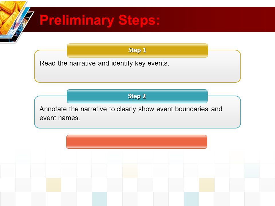 Preliminary Steps: Step 1 Read the narrative and identify key events.