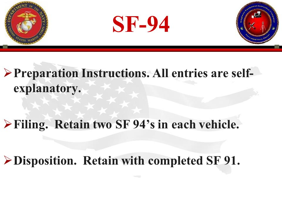 SF-94 Preparation Instructions. All entries are self-explanatory.