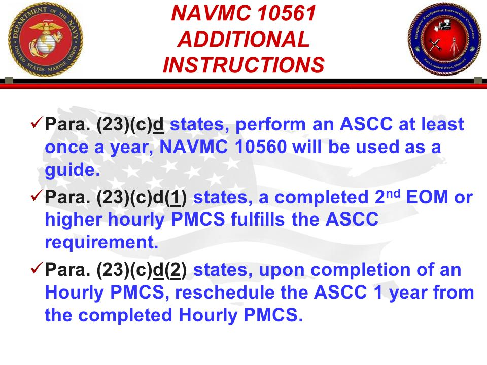 NAVMC ADDITIONAL INSTRUCTIONS