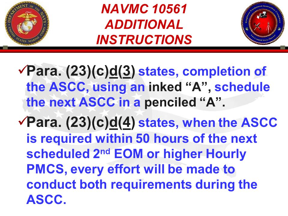 NAVMC 10561 ADDITIONAL INSTRUCTIONS