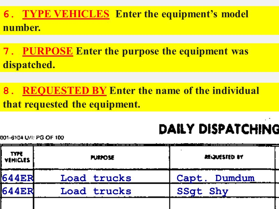 6. TYPE VEHICLES Enter the equipment's model number.