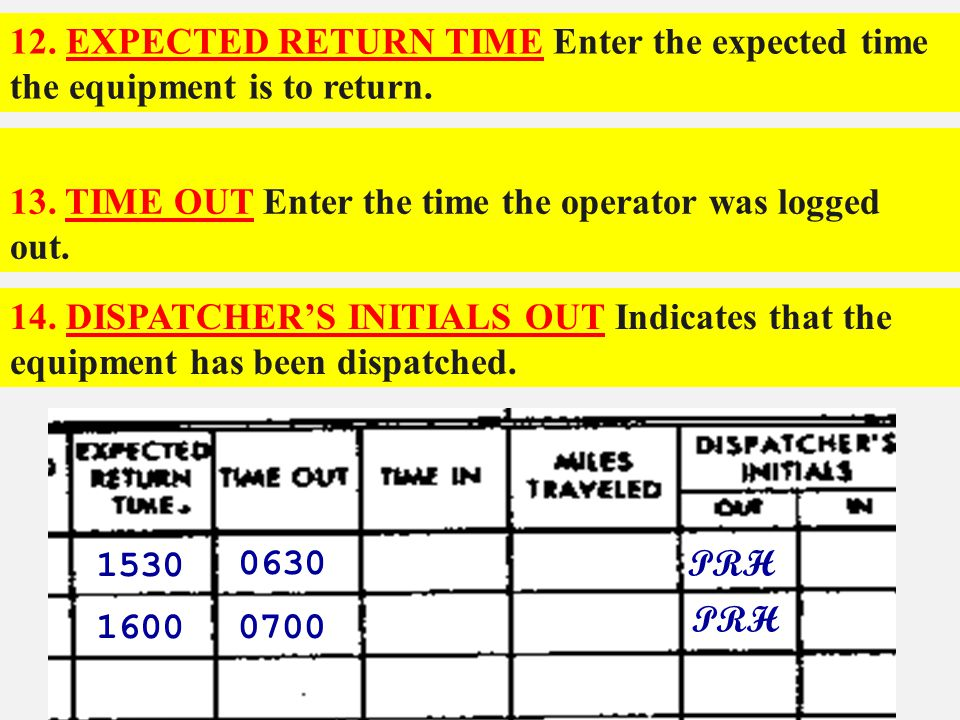 12. EXPECTED RETURN TIME Enter the expected time the equipment is to return.