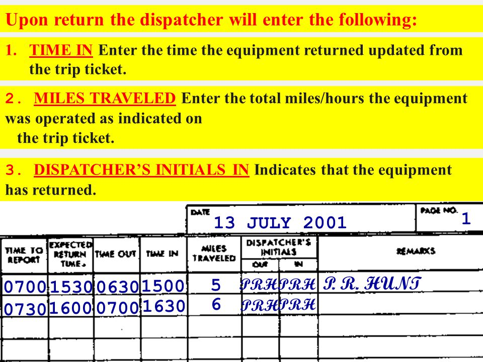 Upon return the dispatcher will enter the following: