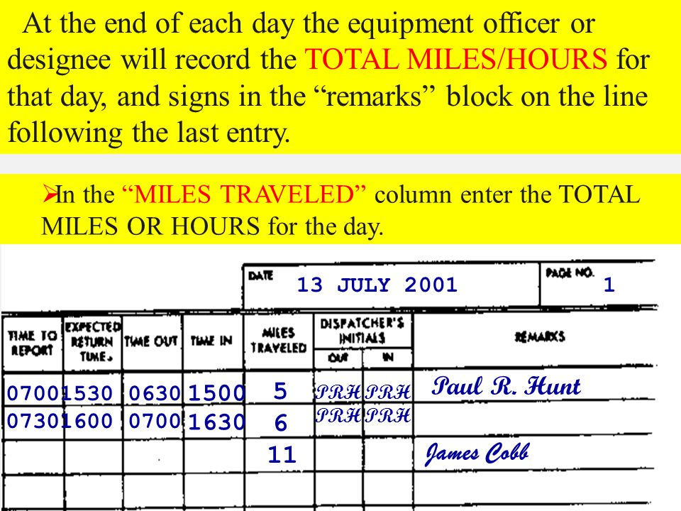 At the end of each day the equipment officer or designee will record the TOTAL MILES/HOURS for that day, and signs in the remarks block on the line following the last entry.