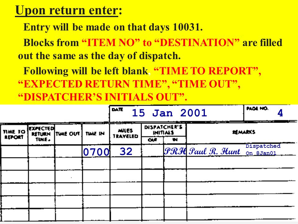 Upon return enter: Entry will be made on that days Blocks from ITEM NO to DESTINATION are filled out the same as the day of dispatch.