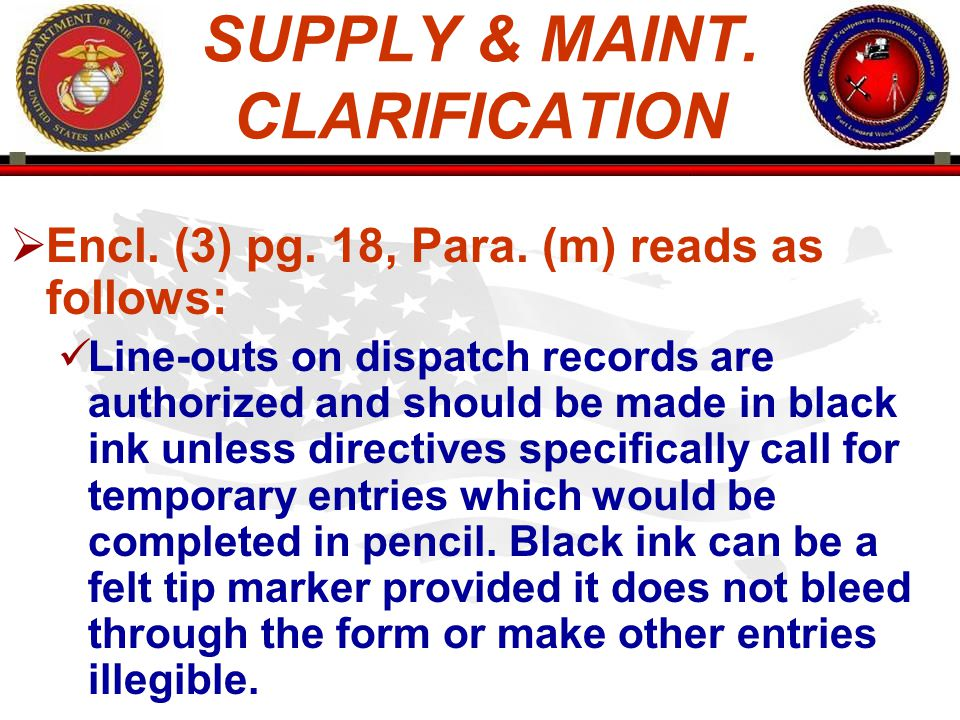 SUPPLY & MAINT. CLARIFICATION