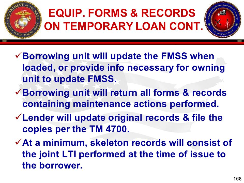 EQUIP. FORMS & RECORDS ON TEMPORARY LOAN CONT.