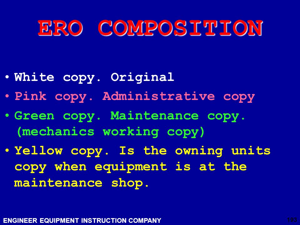 ERO COMPOSITION White copy. Original Pink copy. Administrative copy