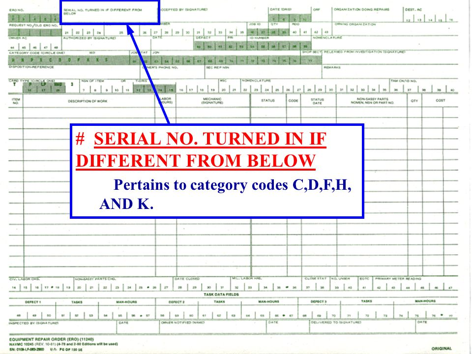 # SERIAL NO. TURNED IN IF DIFFERENT FROM BELOW