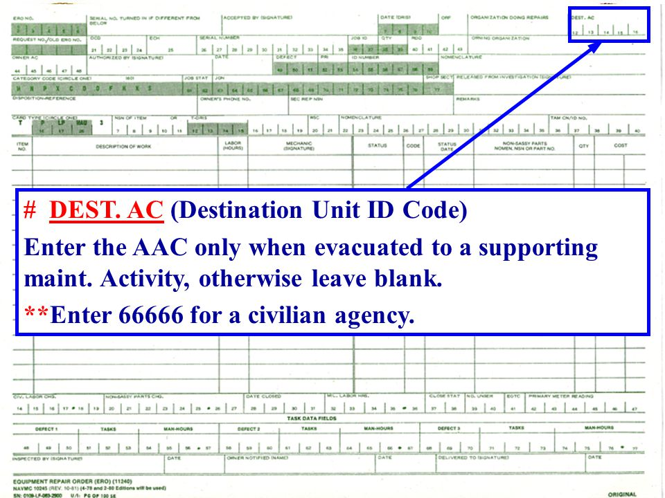 # DEST. AC (Destination Unit ID Code)