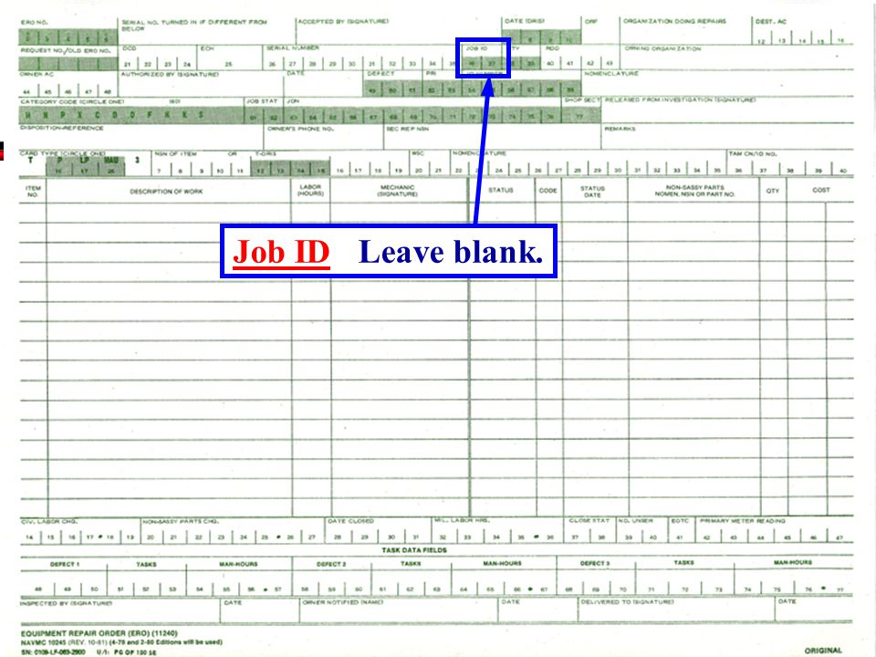 Job ID Leave blank.