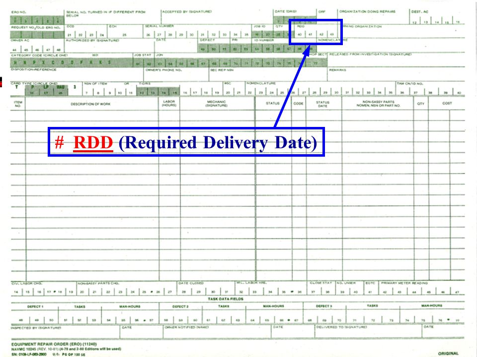 # RDD (Required Delivery Date)