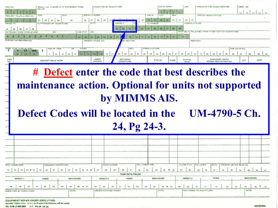 Defect Codes will be located in the UM-4790-5 Ch. 24, Pg 24-3.