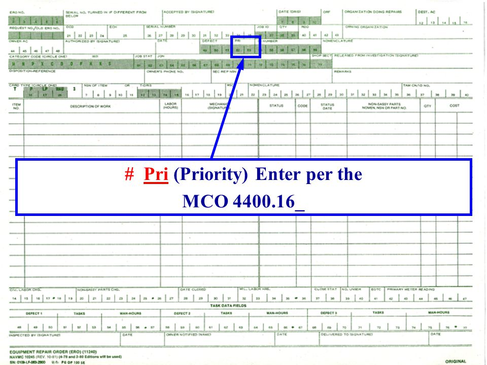 # Pri (Priority) Enter per the