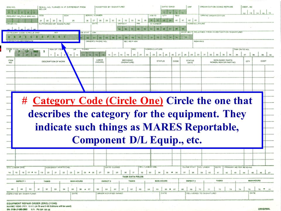 # Category Code (Circle One) Circle the one that describes the category for the equipment.
