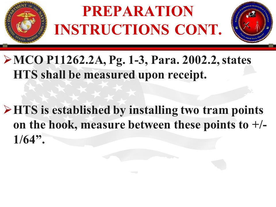 PREPARATION INSTRUCTIONS CONT.