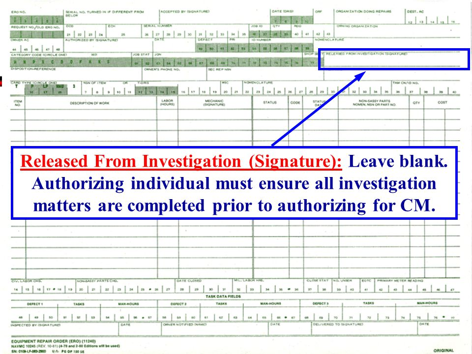 Released From Investigation (Signature): Leave blank