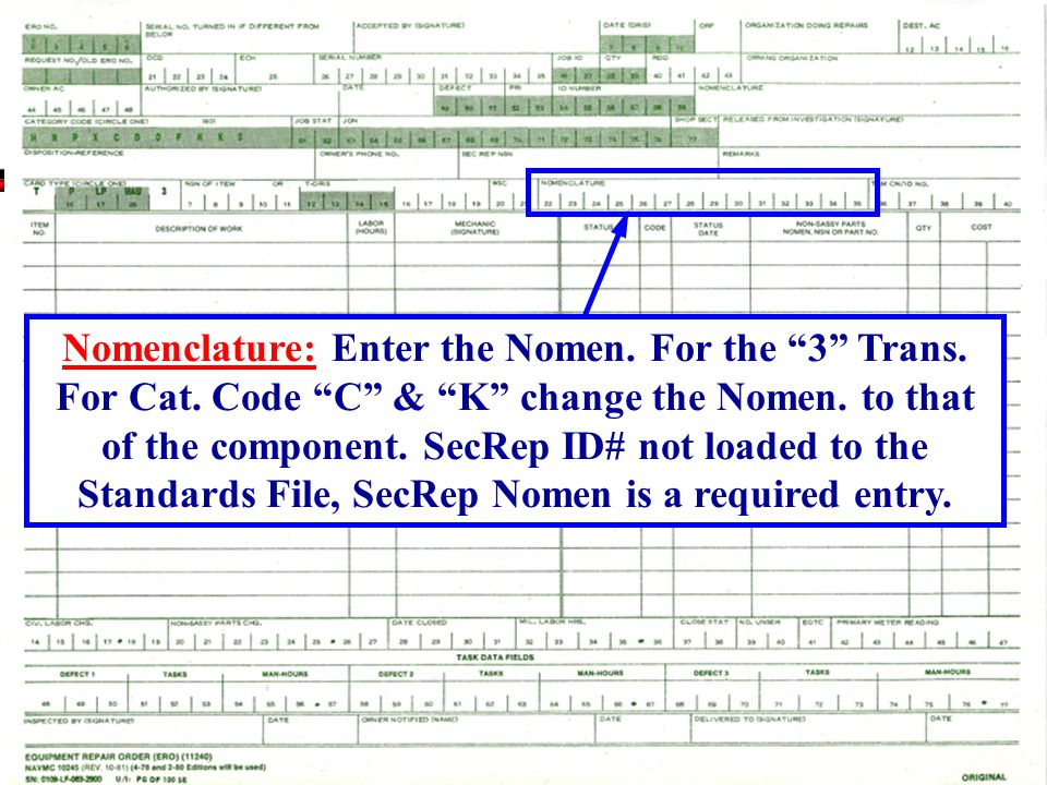 Nomenclature: Enter the Nomen. For the 3 Trans. For Cat