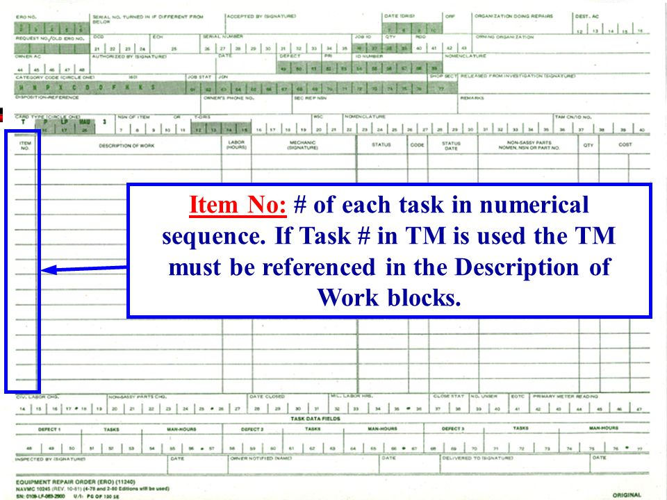 Item No: # of each task in numerical sequence