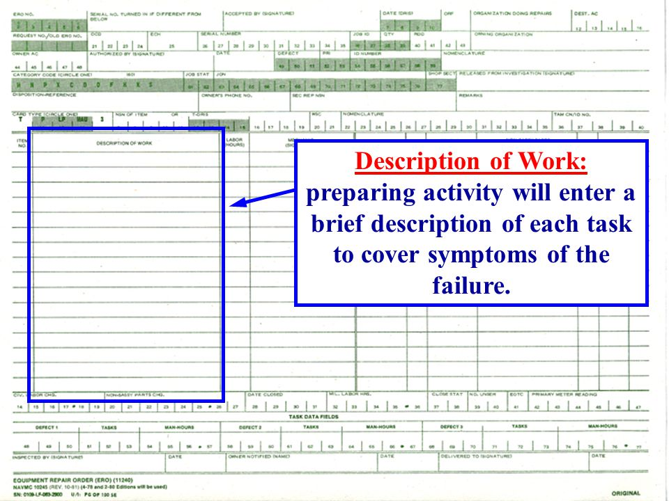 Description of Work: preparing activity will enter a brief description of each task to cover symptoms of the failure.