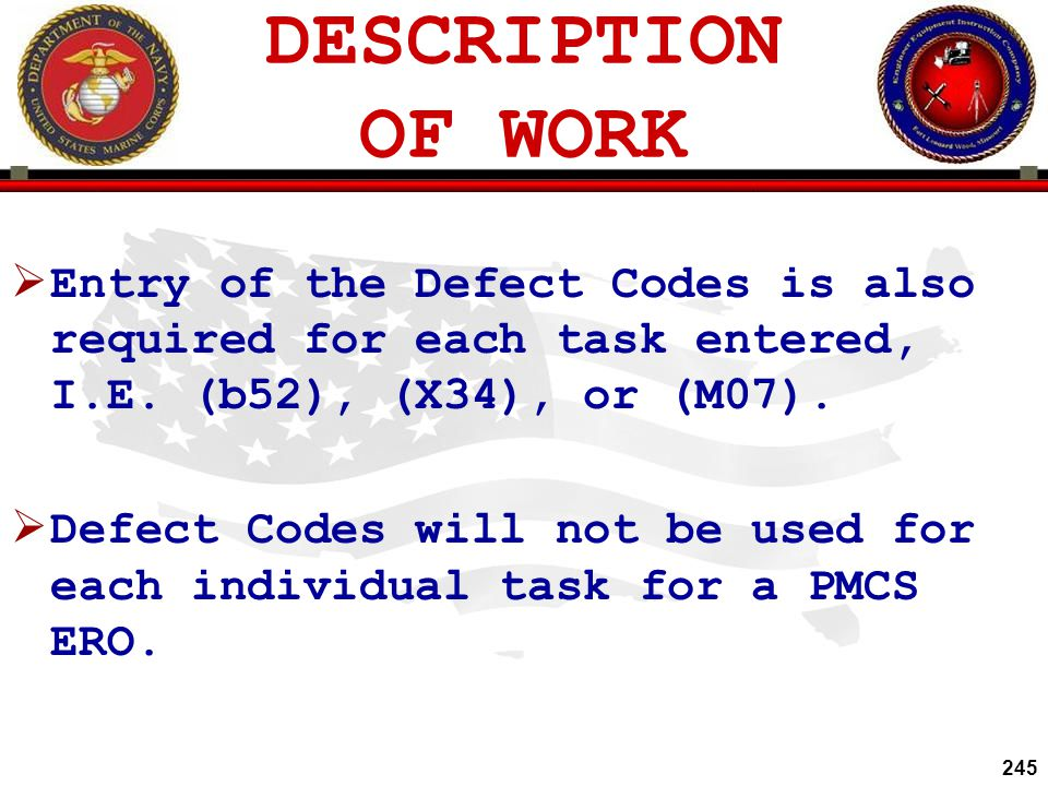 DESCRIPTION OF WORK Entry of the Defect Codes is also required for each task entered, I.E. (b52), (X34), or (M07).