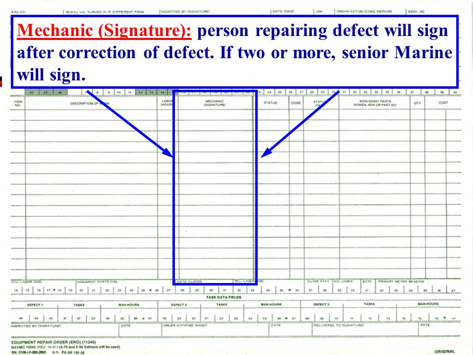 Mechanic (Signature): person repairing defect will sign after correction of defect.