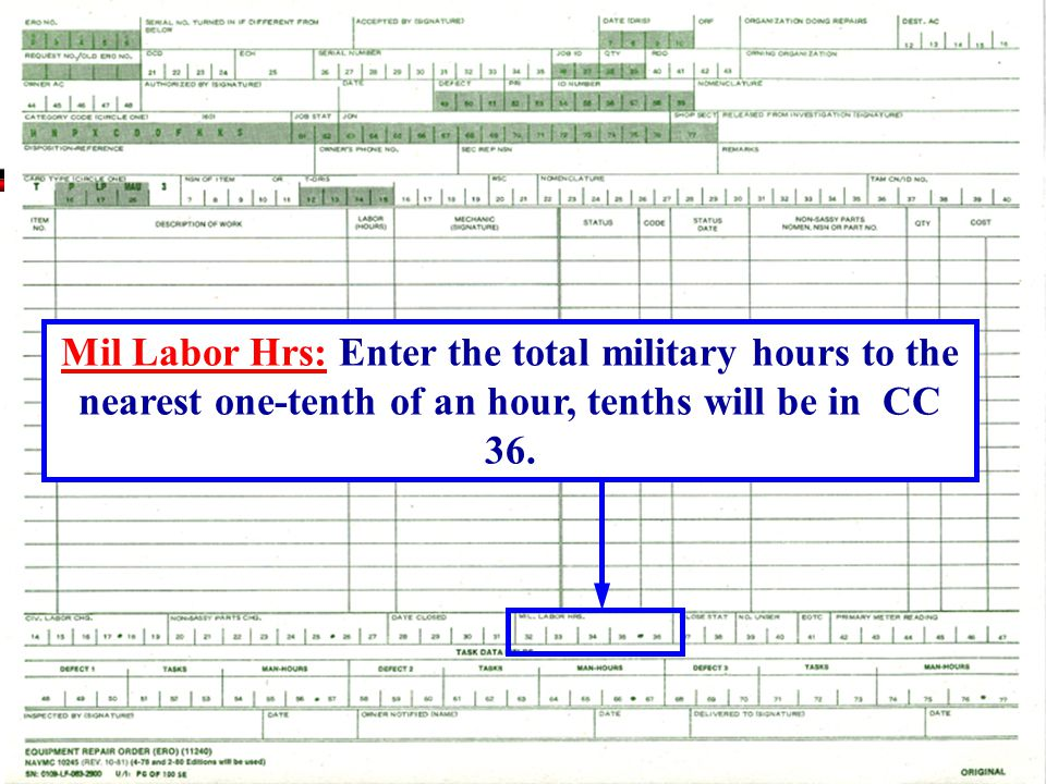 Mil Labor Hrs: Enter the total military hours to the nearest one-tenth of an hour, tenths will be in CC 36.