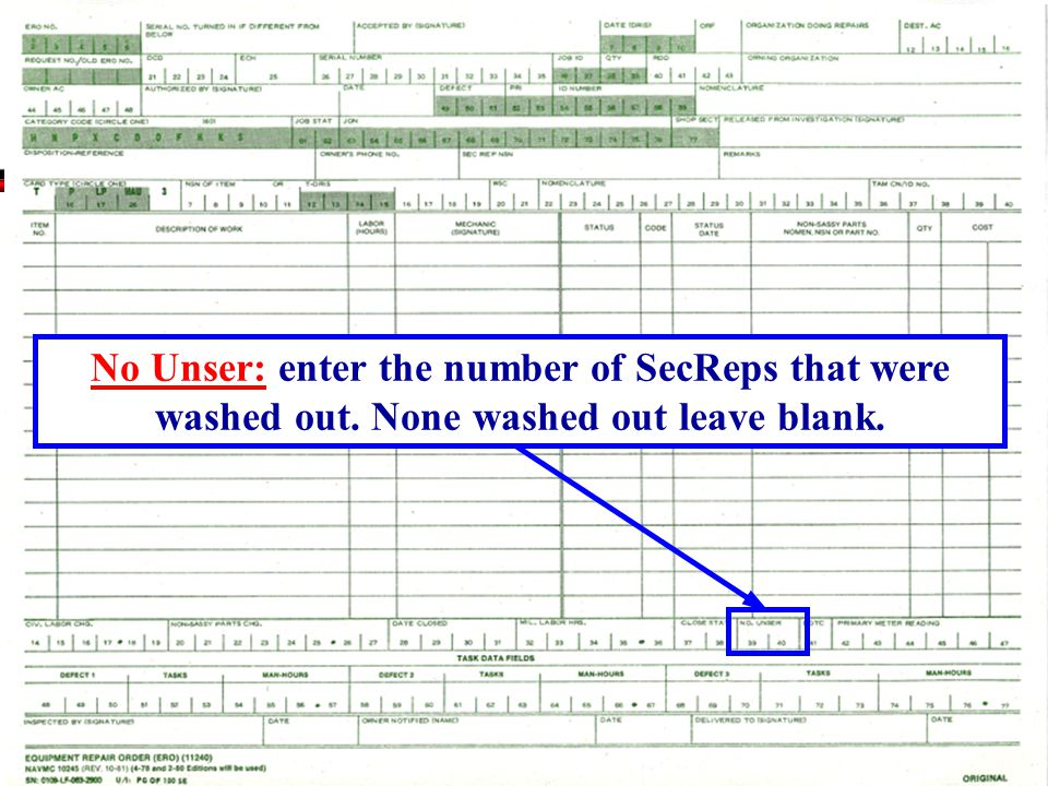 No Unser: enter the number of SecReps that were washed out