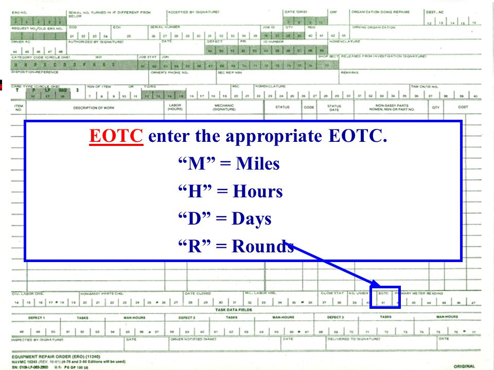 EOTC enter the appropriate EOTC.